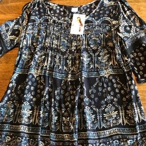 Bula Cold Shoulder Full Blouse Size Small